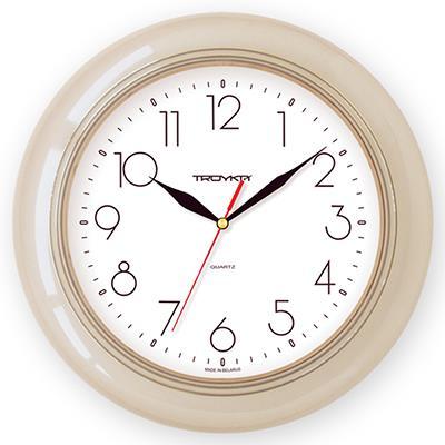 Часы настенные Troyka, бежевый. 7170121271701212TROYKA 71701212 часы настенные (Классика, белый фон, бежевое кольцо, круг, пластик)