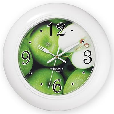 Часы настенные Troyka, цвет: белый. 7171124071711240Настенные кварцевые часы Troyka с изображением яблок, изготовленные из пластика, прекрасно подойдут под интерьер вашего дома. Круглые часы имеют три стрелки: часовую, минутную и секундную, циферблат защищен прозрачным пластиком. Стрелки выполнены в виде ножа и вилки. Диаметр часов: 30 см. Часы работают от 1 батарейки типа АА напряжением 1,5 В. Внимание! Часы укомплектованы бесплатным тестовым элементом питания для обеспечения их работоспособности при предпродажной подготовке и демонстрации рабочих функций.
