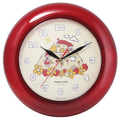 Часы настенные Troyka, цвет: красный. 7173124271731242Настенные кварцевые часы Troyka с изображением домика на холме, изготовленные из пластика, прекрасно подойдут под интерьер вашего дома. Круглые часы имеют три стрелки: часовую, минутную и секундную, циферблат защищен прозрачным пластиком. Диаметр часов: 30 см. Часы работают от 1 батарейки типа АА напряжением 1,5 В. Внимание! Часы укомплектованы бесплатным тестовым элементом питания для обеспечения их работоспособности при предпродажной подготовке и демонстрации рабочих функций.