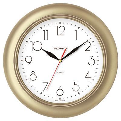 Часы настенные Troyka, золотой. 7177121271771212TROYKA 71771212 часы настенные (Классика, белый фон, золотое кольцо, круг, пластик) Материал: пластик; размер: диаметр 300 мм; цвет: золотой