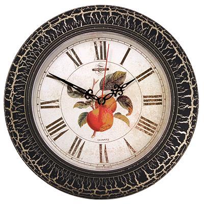 Часы настенные Troyka, цвет: черный, бежевый. 7177524571775245Настенные кварцевые часы Troyka в винтажном стиле с изображением яблока, изготовленные из пластика, прекрасно подойдут под интерьер вашего дома. Круглые часы имеют три стрелки: часовую, минутную и секундную, циферблат защищен прозрачным пластиком. Диаметр часов: 30 см. Часы работают от 1 батарейки типа АА напряжением 1,5 В. Внимание! Часы укомплектованы бесплатным тестовым элементом питания для обеспечения их работоспособности при предпродажной подготовке и демонстрации рабочих функций.