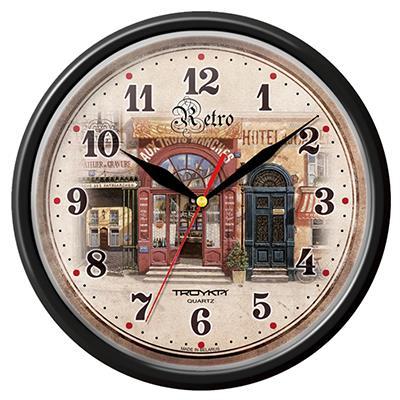 Часы настенные Troyka, цвет: черный. 9190092291900922Настенные кварцевые часы Troyka в винтажном стиле, изготовленные из пластика, прекрасно подойдут под интерьер вашего дома. Круглые часы имеют три стрелки: часовую, минутную и секундную, циферблат защищен прозрачным пластиком. Диаметр часов: 24,5 см. Часы работают от 1 батарейки типа АА напряжением 1,5 В. Внимание! Часы укомплектованы бесплатным тестовым элементом питания для обеспечения их работоспособности при предпродажной подготовке и демонстрации рабочих функций.