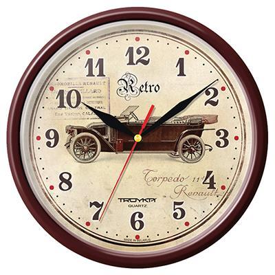 Часы настенные Troyka, цвет: коричневый. 9193192091931920Настенные кварцевые часы Troyka в винтажном стиле, изготовленные из пластика, прекрасно подойдут под интерьер вашего дома. Круглые часы имеют три стрелки: часовую, минутную и секундную, циферблат защищен прозрачным пластиком. Диаметр часов: 22,5 см. Часы работают от 1 батарейки типа АА напряжением 1,5 В. Внимание! Часы укомплектованы бесплатным тестовым элементом питания для обеспечения их работоспособности при предпродажной подготовке и демонстрации рабочих функций.