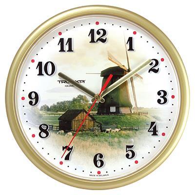 Часы настенные Troyka, цвет: золотой. 9197192591971925Настенные кварцевые часы Troyka с изображением ветряной мельницы, изготовленные из пластика, прекрасно подойдут под интерьер вашего дома. Круглые часы имеют три стрелки: часовую, минутную и секундную, циферблат защищен прозрачным пластиком. Диаметр часов: 22,5 см. Часы работают от 1 батарейки типа АА напряжением 1,5 В. Внимание! Часы укомплектованы бесплатным тестовым элементом питания для обеспечения их работоспособности при предпродажной подготовке и демонстрации рабочих функций.