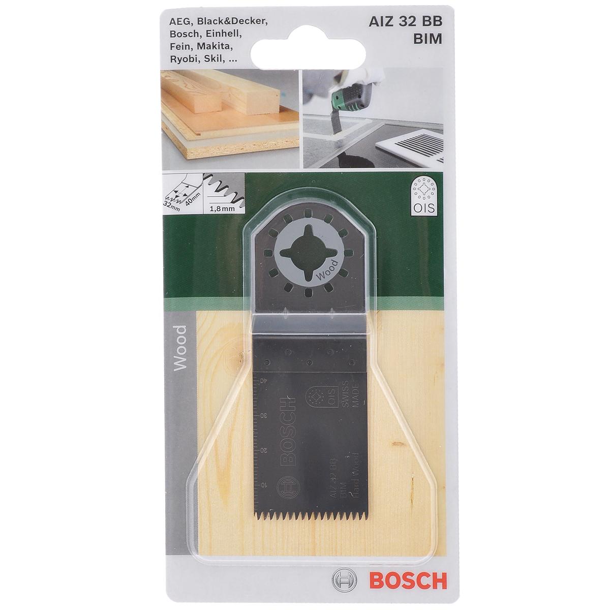 Пильное полотно по дереву Bosch Bim Hardwood, для PMF 180, 32х40 мм2609256946Биметаллическое погружное пильное полотно Bosch предназначено для многофункционального инструмента PMF 180. Применяется для врезного пиления в древесных плитах, вырезания отверстий в мебели для удобства монтажа кабелей электрооборудования, также для подрезания деревянных изделий заподлицо со смежной поверхностью. Шаг зубьев: 1,8 мм.
