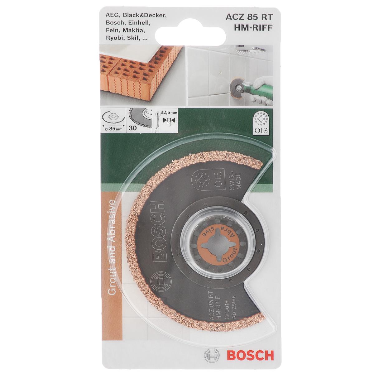 Пильное полотно Bosch HM-Riff, диаметр 85 мм2609256952Сегментированное пильное полотно Bosch HM-Riff предназначено для фрезерования с помощью универсальных дельташлифмашин. Подходит для моделей Bosch GOP 10.8 V-LI, GOP 250 CE Professional, PMF 10.8 LI, PMF 180 E, Fein Multimaster FMM 250 (d 10 мм). Совместно с универсальным переходником (приобретается отдельно) возможно применение с другими стандартными Multi - Cutter. Полотно может быть использовано для фрезерования проемов и швов в керамической плитке и бетоне. Идеально подходит для фрезерования при прокладке кабелей. За счет 12-точечной системы зажима OIS достигается оптимальная передача усилия. Оснастка имеет достаточно длительный период эксплуатации. Зернистость: 30. Толщина: <2,5 мм.