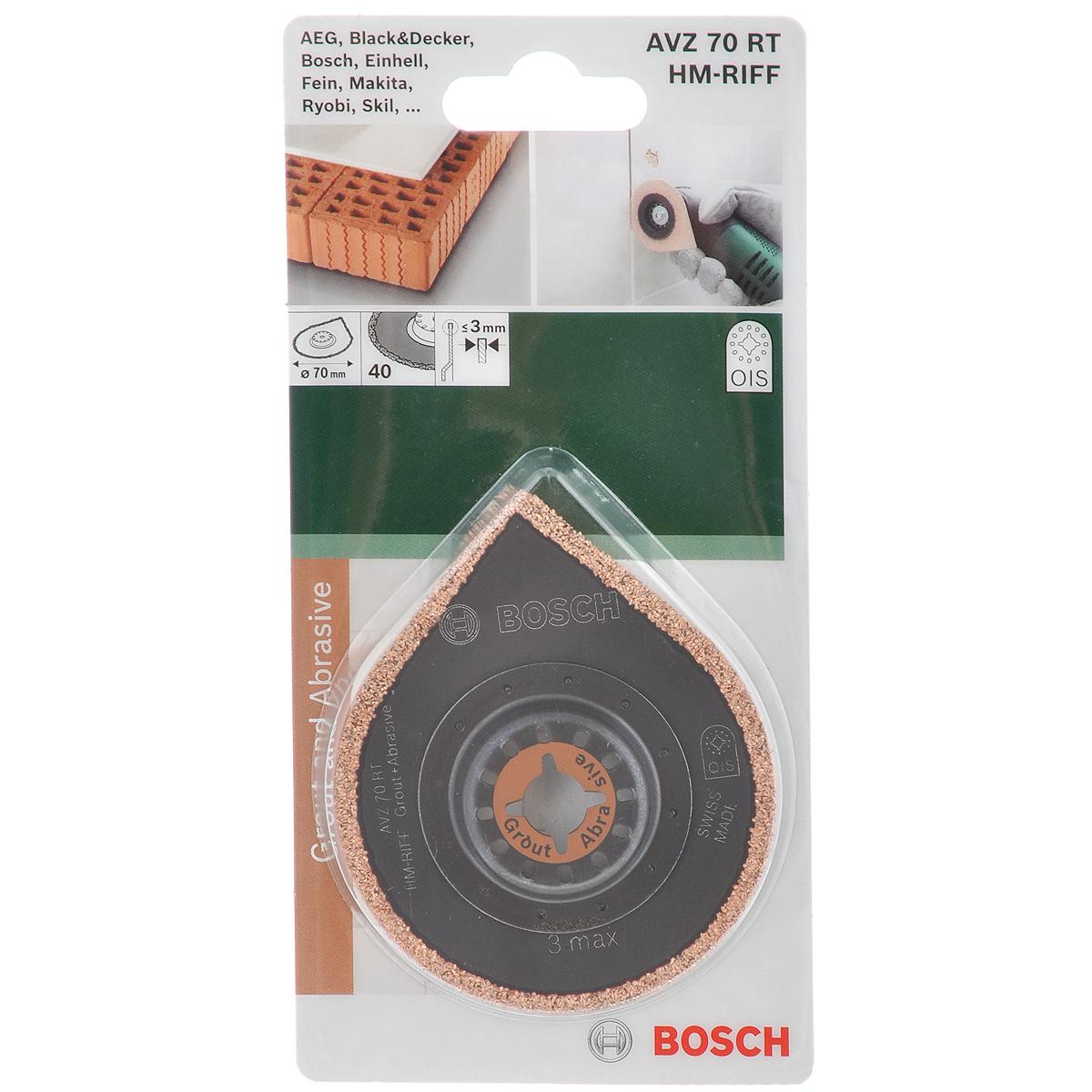Универсальная насадка Bosch HM-Riff AVZ 70 RT, диаметр 70 мм2609256C51Инструмент 3Max HM-RIFF Bosch HM-Riff предназначен для удаления строительного раствора с помощью универсальных дельташлифмашин. Подходит для моделей Bosch GOP 10.8 V-LI, GOP 250 CE Professional, PMF 10.8 LI, PMF 180 E, Fein Multimaster FMM 250 (d 10 мм). Совместно с универсальным переходником (приобретается отдельно) возможно применение с другими стандартными Multi - Cutter. Инструмент может быть использован для счищения раствора или клея между керамической плиткой при ее демонтаже. Благодаря твердосплавному острию на конце насадки возможно удаление строительных растворов даже в труднодоступных углах. За счет 12-точечной системы зажима OIS достигается оптимальная передача усилия. Инструмент имеет достаточно длительный период эксплуатации. Толщина: 3 мм.