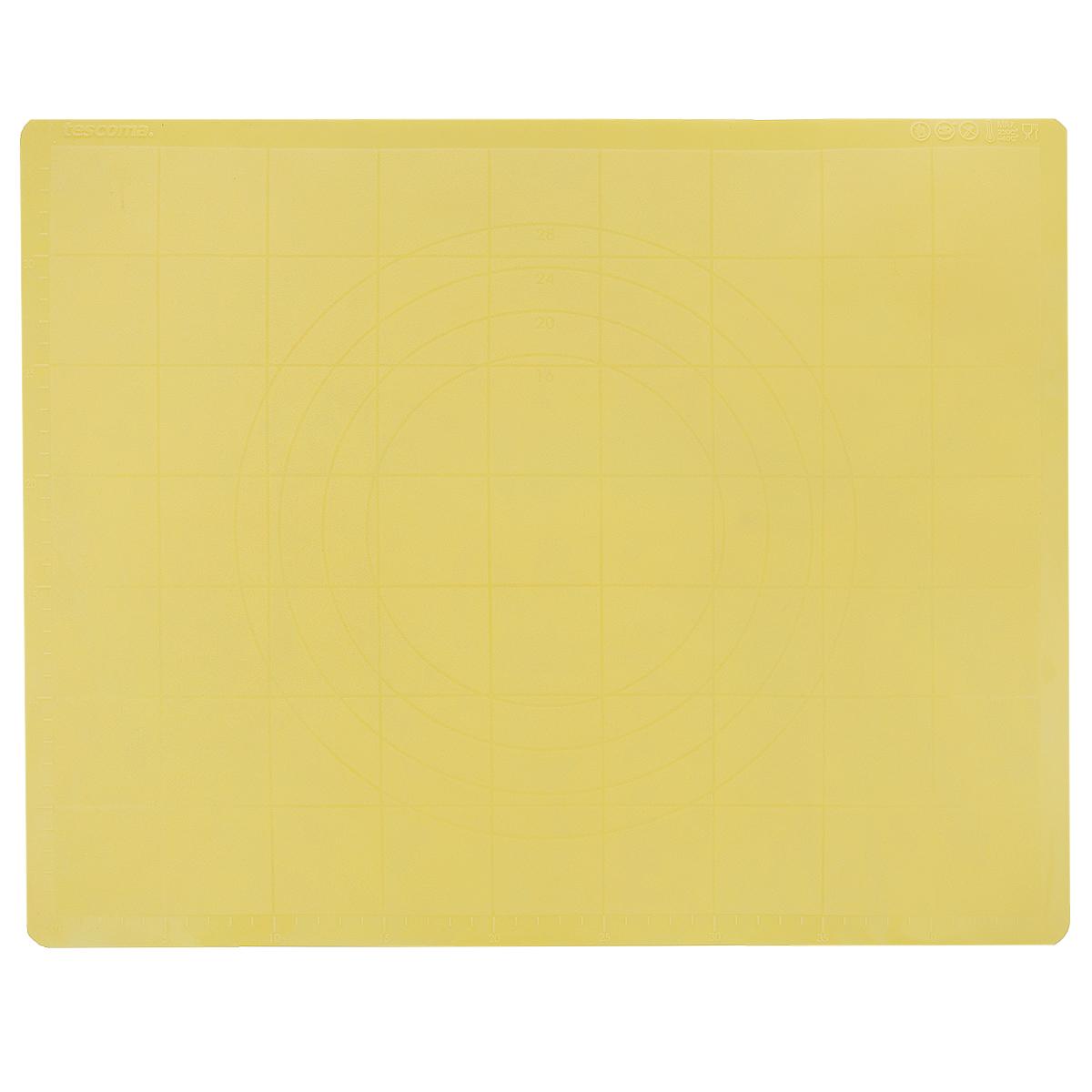 Лист для раскатки теста Tescoma Delicia, цвет: желтый, 48 х 38 см629382_желтыйСиликоновый лист Tescoma подходит для раскатки теста и обработки других продуктов. Идеально прилегает к поверхности стола, тесто не пристает. Лист имеет шкалу для удобного измерения и резки. Легко моется, не впитывает запахи продуктов. Можно использовать как подставку под горячую посуду.