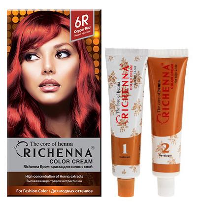 Крем-краска для волос Richenna с хной, 6R. Медно-красный29008Крем-краска для волос Richenna с хной рекомендуется для безопасного изменения цвета волос, полного окрашивания седых волос и в случае повышенной чувствительности к искусственным компонентам краски для волос. Высокая концентрация экстракта хны в составе крем-краски позволяет уменьшить повреждение волос, сделать их эластичными и здоровыми, придает волосам живой цвет и красивый блеск. Не раздражая кожу, крем-краска полностью закрашивает седину и обладает приятным цветочным ароматом. Упаковка средства в 2-х отдельных тубах позволяет использовать средство несколько раз в зависимости от объема и длины волос. Благодаря кремовой текстуре хорошо наносится и не течет. Время окрашивания 20-30 мин.