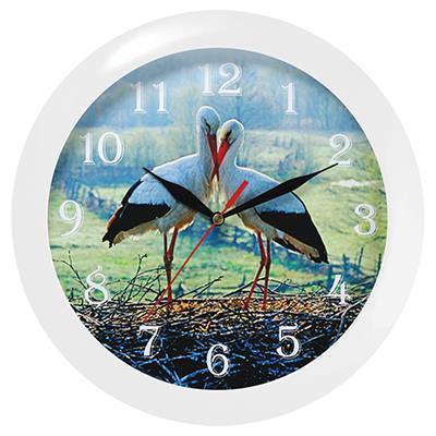 Часы настенные Troyka, цвет: белый. 1111010911110109Настенные кварцевые часы Troyka с изображением журавлей, изготовленные из пластика, прекрасно подойдут под интерьер вашего дома. Круглые часы имеют три стрелки: часовую, минутную и секундную, циферблат защищен прозрачным стеклом. Диаметр часов: 29 см. Часы работают от 1 батарейки типа АА напряжением 1,5 В. Внимание! Часы укомплектованы бесплатным тестовым элементом питания для обеспечения их работоспособности при предпродажной подготовке и демонстрации рабочих функций.