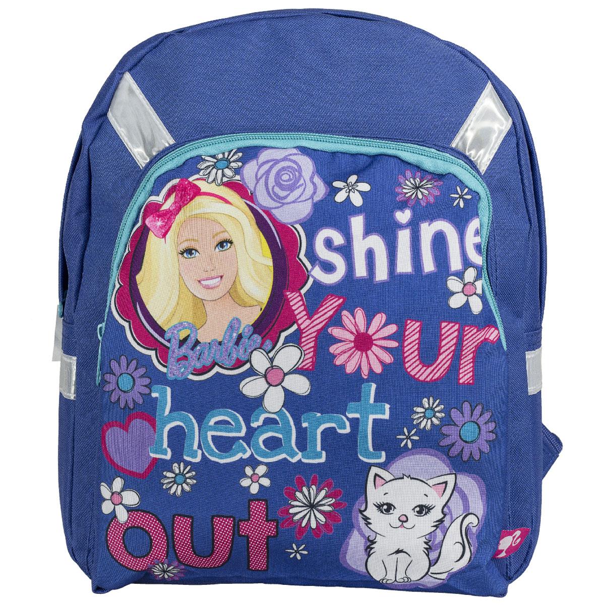 Рюкзак детский Barbie, цвет: синий. BRCB-UT4-558BRCB-UT4-558Детский рюкзак Barbie обязательно привлечет внимание вашей девочки. Выполнен из прочного и безопасного материала и дополнен изображением милой Барби с кошечкой. Содержит одно вместительное отделение, закрывающееся на застежку-молнию. Лицевая сторона оснащена накладным карманом на молнии. Широкие лямки отлично регулируются по длине. Также у рюкзака предусмотрена текстильная ручка для переноски в руке. Светоотражающие элементы обеспечивают безопасность в темное время суток. Такой рюкзак порадует глаз и подарит отличное настроение вашему ребенку, который будет с удовольствием носить в нем свои вещи или любимые игрушки. Рекомендуемый возраст: от 7 лет.
