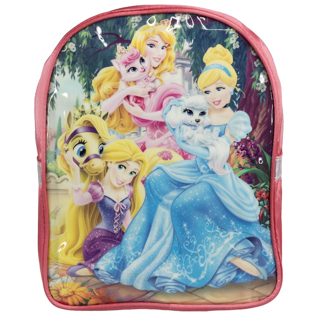 Рюкзак детский Disney Princess, цвет: розовый. PRCB-UT4-561PRCB-UT4-561Рюкзак детский Disney Princess обязательно пригодится вашему ребенку. Он может взять его с собой на прогулку, в гости или в детский сад. Выполнен рюкзак из износоустойчивой ткани, что позволяет ему верно служить долгое время. Оформлен рюкзак изображением замечательных принцесс с животными. Содержит одно отделение, закрывающееся на застежку-молнию. Внутри отделения находится небольшой кармашек на молнии. Рюкзак оснащен регулируемыми по длине широкими лямками и дополнен текстильной ручкой для переноски в руке. Светоотражающие элементы обеспечивают безопасность в темное время суток. Такой рюкзак порадует глаз и подарит отличное настроение вашему ребенку, который будет с удовольствием носить в нем свои вещи или любимые игрушки. Рекомендуемый возраст: от 7 лет.