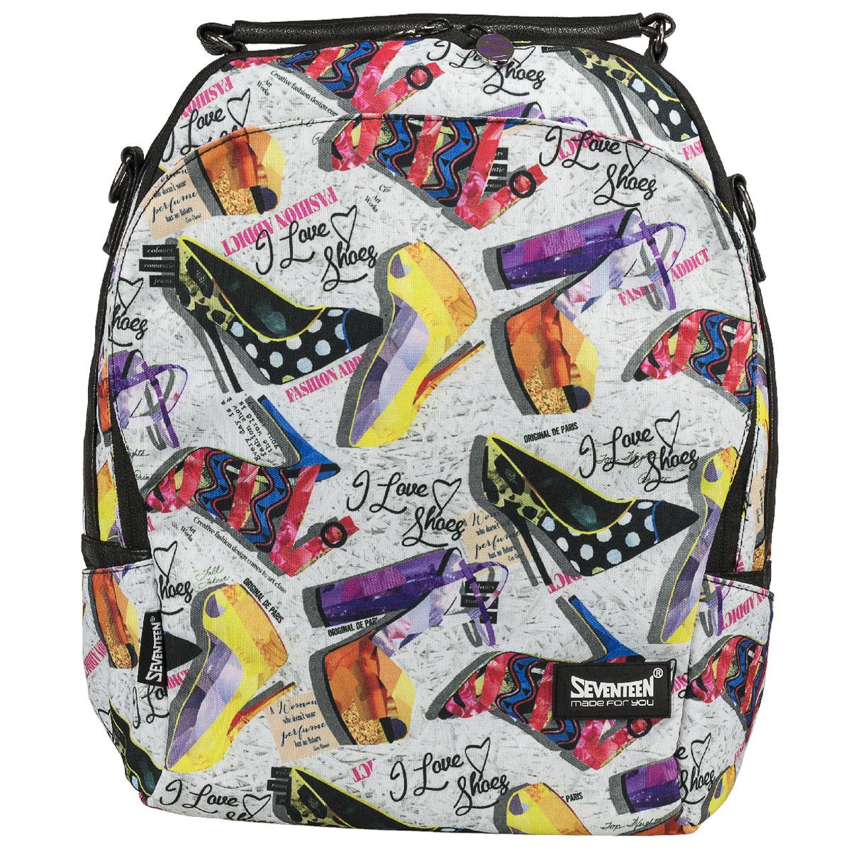 Сумка-рюкзак молодежная Seventeen, цвет: черный, мультицвет. SVCB-RT3-596SVCB-RT3-596Молодежная сумка-рюкзак Seventeen выполнена из высококачественных материалов и оформлена красочным принтом. Модель содержит одно вместительное отделение на застежке-молнии с двумя бегунками. Внутри отделения находятся прорезной карман на молнии и два открытых кармашка. Фронтальный карман с клапаном на магнитах. Задняя стенка сумки-рюкзака оснащена прорезным карманом на молнии. По бокам изделия находятся открытые карманы. Сумка оснащена удобной ручкой для переноски в руке, а также плечевым ремнем, с помощью которого сумку-рюкзак можно носить на плече и как рюкзак. Такую сумку-рюкзак можно использовать для повседневных прогулок, отдыха и спорта, а также как элемент вашего имиджа. Рекомендуемый возраст: от 12 лет.