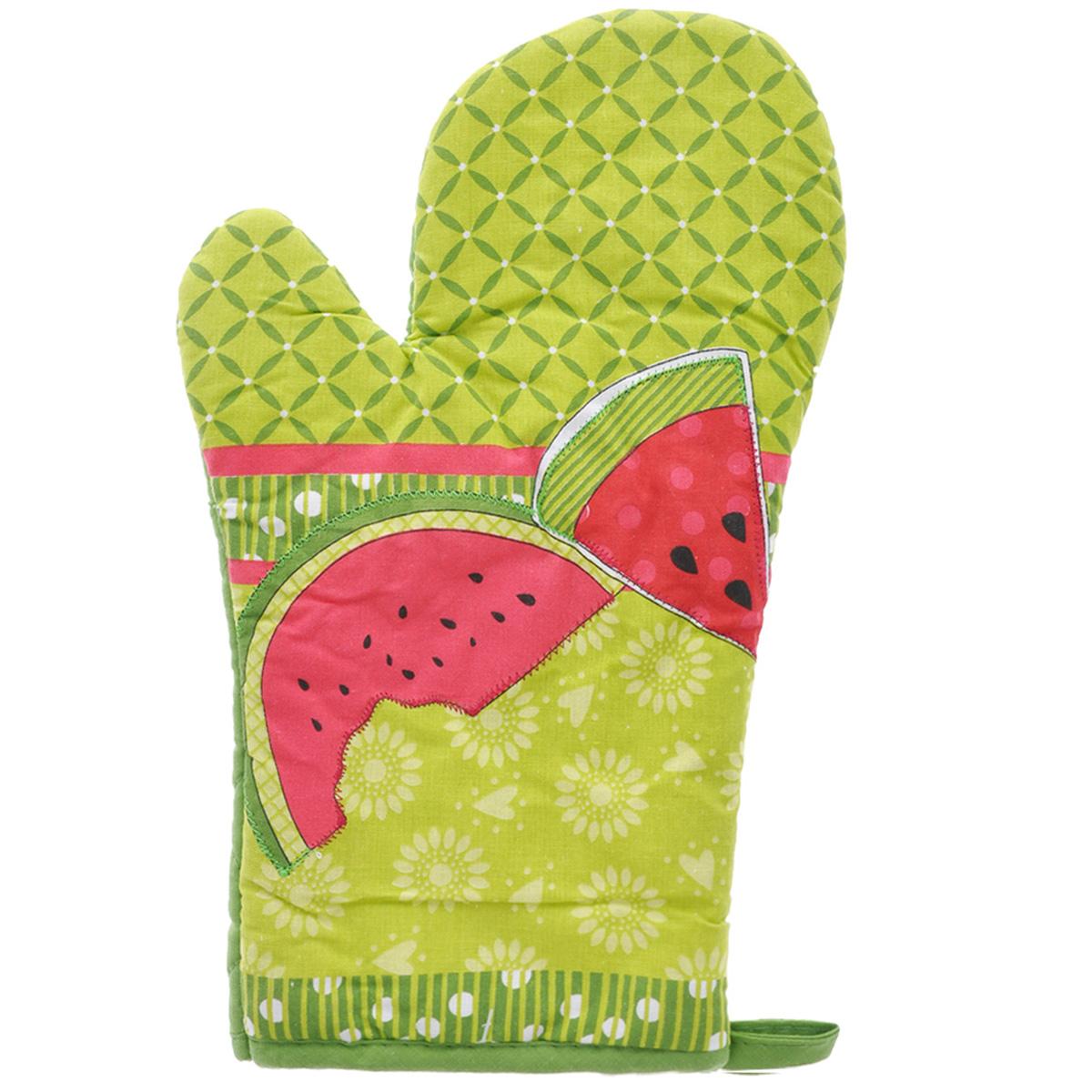 Рукавица-прихватка LaSella, цвет: зеленый, красный, 30 см. MT002009MT002009(F9563)Рукавица-прихватка LaSella изготовлена из хлопка. Эта рукавица с ярким дизайном защитит ваши руки от высоких температур и предотвратит появление ожогов. Изделие оснащено петелькой для подвешивания на крючок. Такая рукавица - отличный вариант для практичной и современной хозяйки.