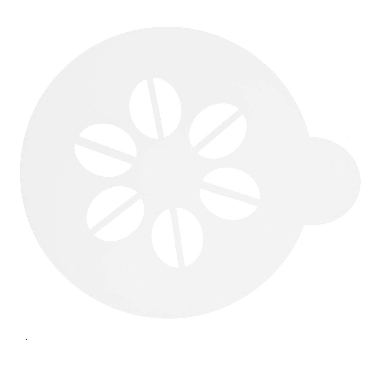 Трафарет на кофе и десерты Леденцовая фабрика Зерна кофе, диаметр 10 смТ07Трафарет представляет собой пластину с прорезями, через которые пищевая краска (сахарная пудра, какао, шоколад, сливки, корица, дробленый орех) наносится на поверхность кофе, молочных коктейлей, десертов. Трафарет изготовлен из матового пищевого пластика 250 мкм и пригоден для контакта с пищевыми продуктами. Трафарет многоразовый. Побалуйте себя и ваших близких красиво оформленным кофе.
