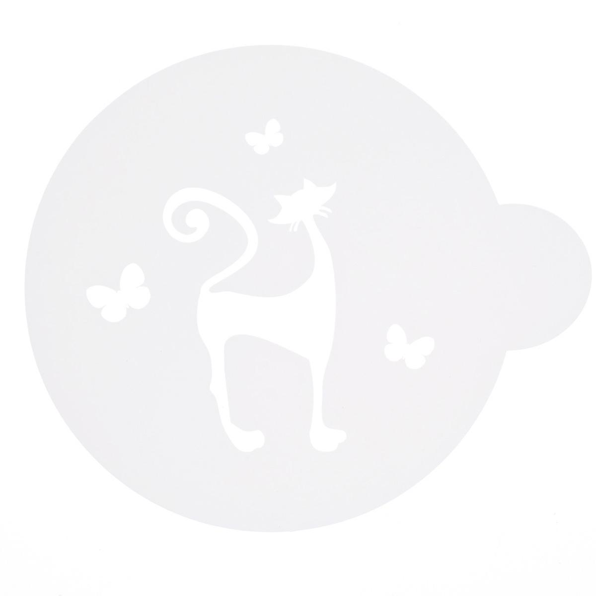 Трафарет на кофе и десерты Леденцовая фабрика Кошечка и бабочки, диаметр 10 смТ09Трафарет представляет собой пластину с прорезями, через которые пищевая краска (сахарная пудра, какао, шоколад, сливки, корица, дробленый орех) наносится на поверхность кофе, молочных коктейлей, десертов. Трафарет изготовлен из матового пищевого пластика 250 мкм и пригоден для контакта с пищевыми продуктами. Трафарет многоразовый. Побалуйте себя и ваших близких красиво оформленным кофе.