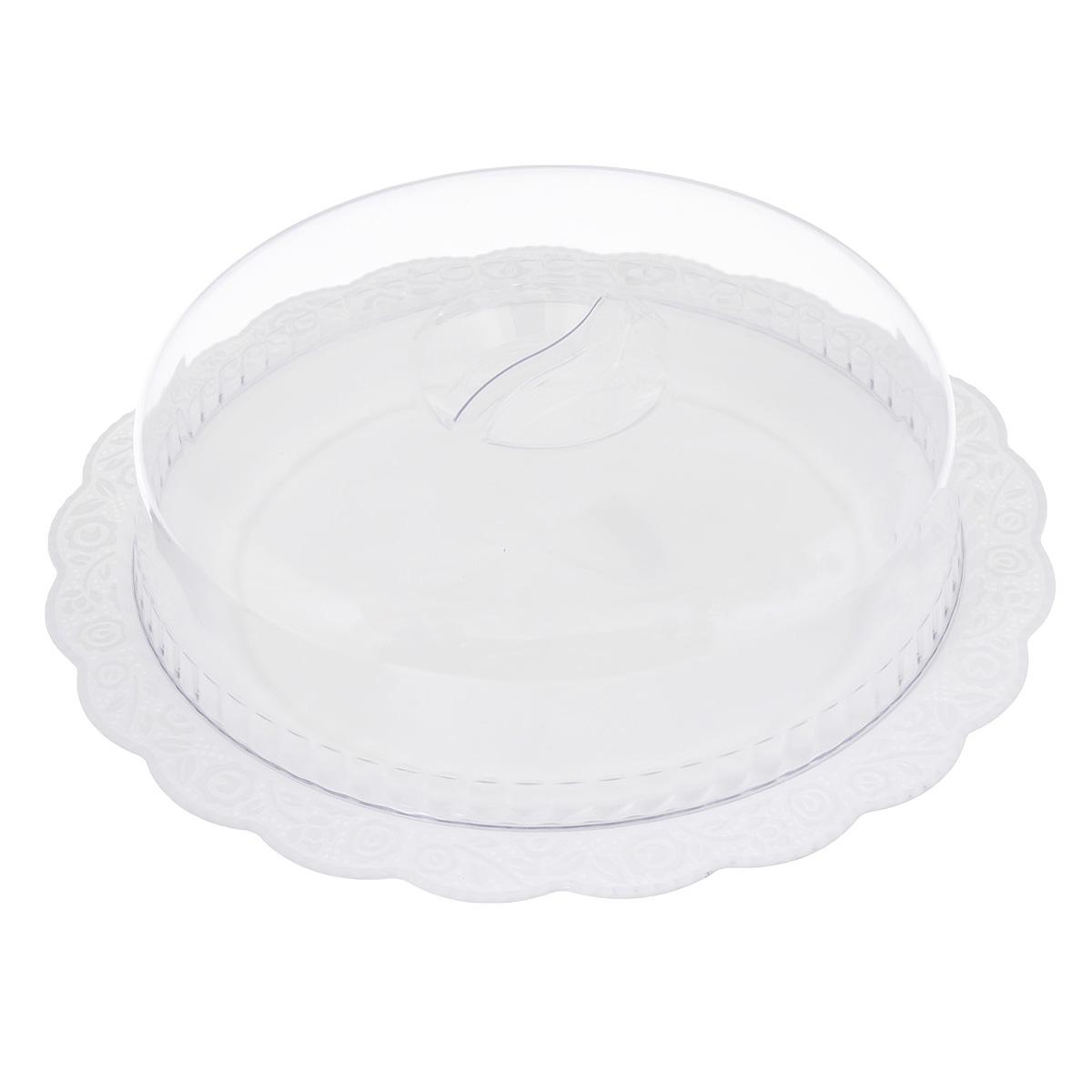 Блюдо Альтернатива Нежность, с крышкой, цвет: белый, прозрачный, 36,5 х 36,5 х 10 смМ1206Круглое блюдо Альтернатива Нежность выполнено из высококачественного пищевого пластика и оснащено прозрачной крышкой. Волнообразные края изделия оформлены красивым рельефным рисунком. Блюдо идеально для подачи торта, больших пирогов. Оригинальный дизайн блюда придется по вкусу и ценителям классики, и тем, кто предпочитает утонченность и изысканность. Такое блюдо настроит на позитивный лад и подарит хорошее настроение всем, кто любит готовить. Внутренний диаметр блюда: 28 см. Общий размер блюда (с учетом крышки): 36,5 см х 36,5 см х 10 см.