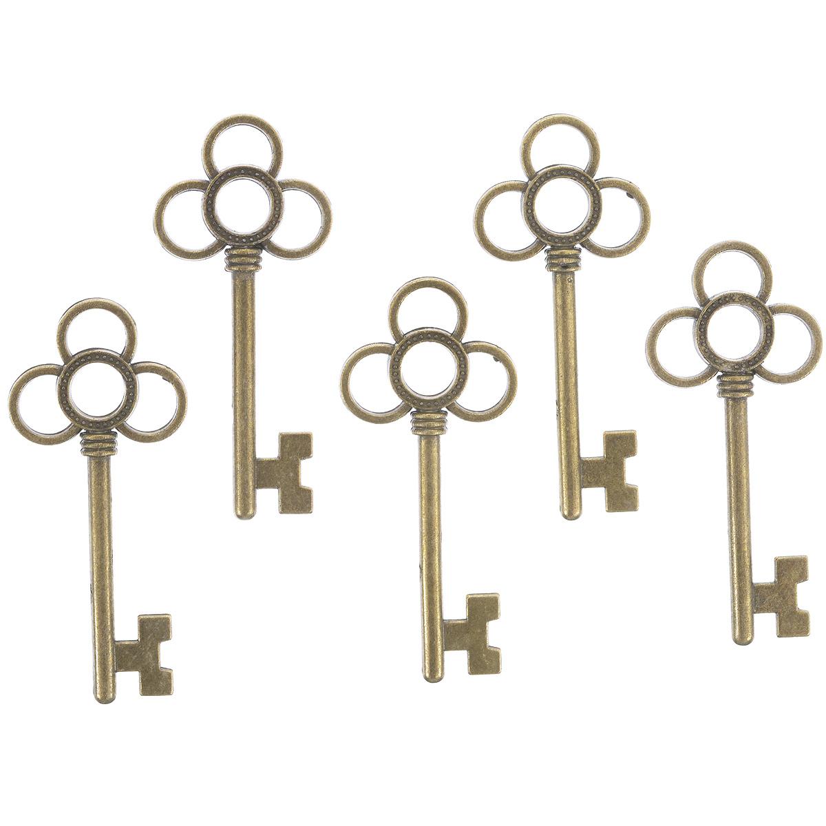 Набор подвесок ScrapBerrys Ключ с тремя лепестками, цвет: бронзовый, 53 мм х 23,5 мм, 5 штSCB25013681Набор ScrapBerrys Ключ с тремя лепестками состоит из 5 декоративных подвесок, выполненных из металла. Изделия предназначены для создания бижутерии, их также можно использовать для украшения альбомов, открыток, рамок, скрап-страничек. Подвески ScrapBerrys помогут воплотить вашу творческую задумку и создать оригинальную неповторимую бижутерию.