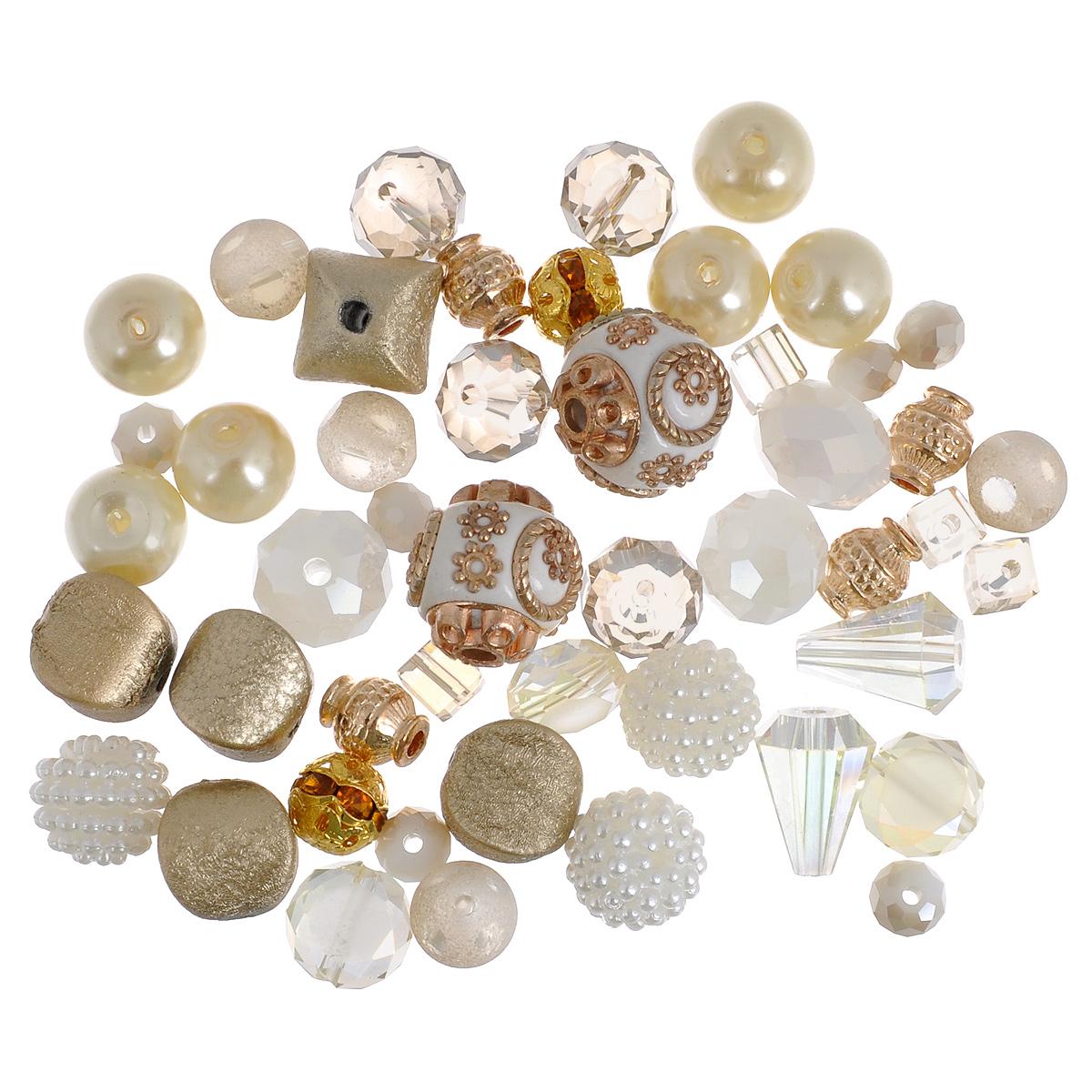 Набор бусин Jesse James Изобилие, 21 г7706971Набор бусин Jesse James Изобилие, изготовленный из высококачественного пластика, стекла, керамики, акрила и цинкового сплава, поможет вам своими руками создать удивительно красивое ожерелье или браслет. Каждая бусина имеет по два отверстия для продевания нити или лески. Бусины разных форм декорированы золотистым напылением и оснащены многогранными рельефными поверхностями. Оригинальные бусины яркого необычного дизайна разнообразят вашу работу и добавят вдохновения для новых идей. Отвлекитесь от повседневных забот и создайте удивительный аксессуар, который к тому же и стильно дополнит ваш образ. Средний размер бусин: 10 мм х 10 мм х 10 мм.