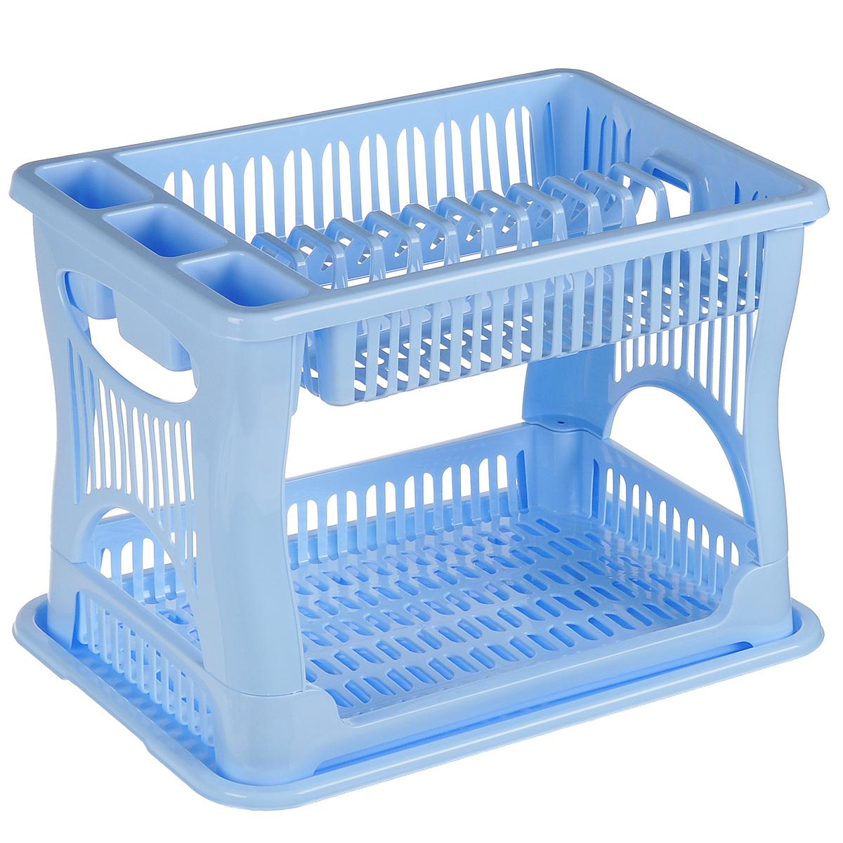 Сушилка для посуды Idea, 2-ярусная, цвет: голубой, 42 х 27 х 30,5 смМ 1175Двухъярусная сушилка Idea выполнена из прочного пластика и оснащена поддоном. Изделие комплектуется двумя ярусами: верхний ярус - для тарелок и столовых приборов, нижний ярус - для кружек, мисок и других предметов. Благодаря своей функциональности, сушилка для посуды Idea займет достойное место на вашей кухне и будет очень полезна любой хозяйке. Стильный, современный и лаконичный дизайн сделает сушилку прекрасным дополнением интерьера вашей кухни. Сушилку для посуды можете установить в любом удобном месте. Компактные размеры и оригинальный дизайн выделяют сушилку из ряда подобных. Общий размер сушилки: 42 см х 27 см х 30,5 см.