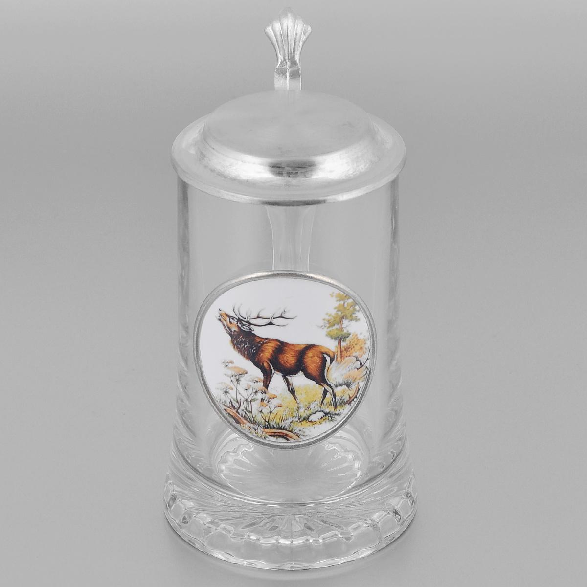 Пивная кружка коллекционная Охота с крышкой, 0,5л. Размер: 18см55143
