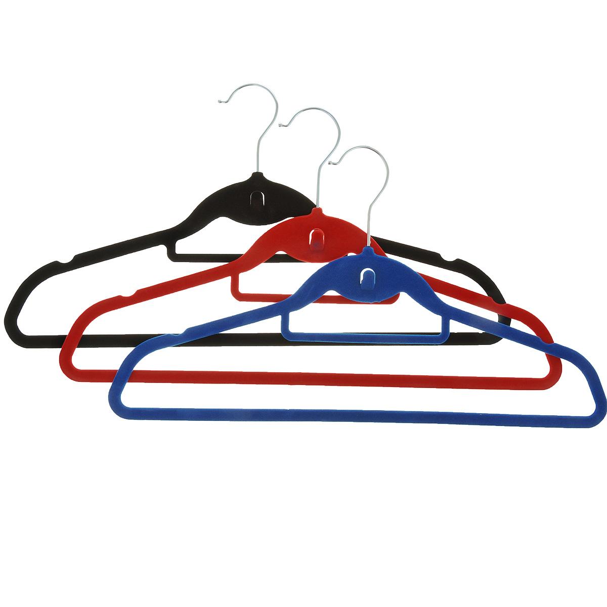 Набор вешалок для одежды Miolla, цвет: красный, синий, черный, 3 шт2511077UНабор Miolla состоит из 3 разноцветных вешалок, изготовленных из нейлона с текстильным покрытием. Изделия оснащены большой перекладиной, малой перекладиной для галстука, боковыми крючками и дополнительным крючком. Вешалка - это незаменимая вещь для того, чтобы ваша одежда всегда оставалась в хорошем состоянии. Комплектация: 3 шт. Длина вешалки: 45 см.