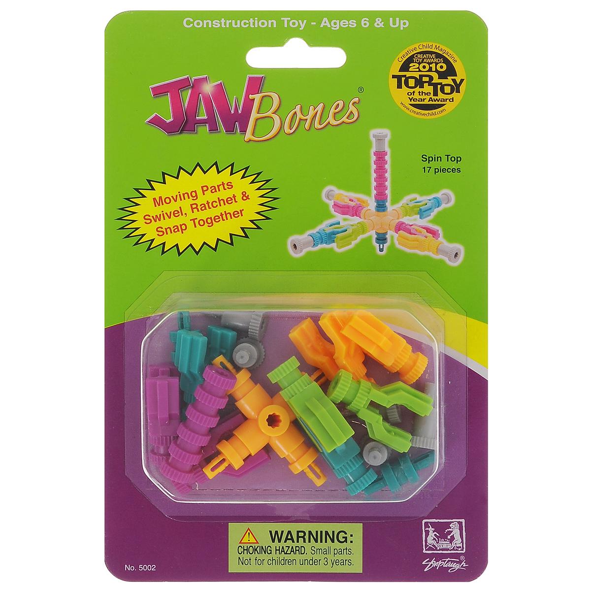 Jawbones Конструктор Юла5002Новый развивающий конструктор Jawbones непременно понравится вашему ребенку! При помощи красочных деталей, с уникальным креплением, можно собрать юлу в оригинальном и неповторимом стиле. Конструктор состоит из 17 элементов разного размера, цвета и назначения. Ваш ребенок с удовольствием будет играть с конструктором, придумывая различные истории.