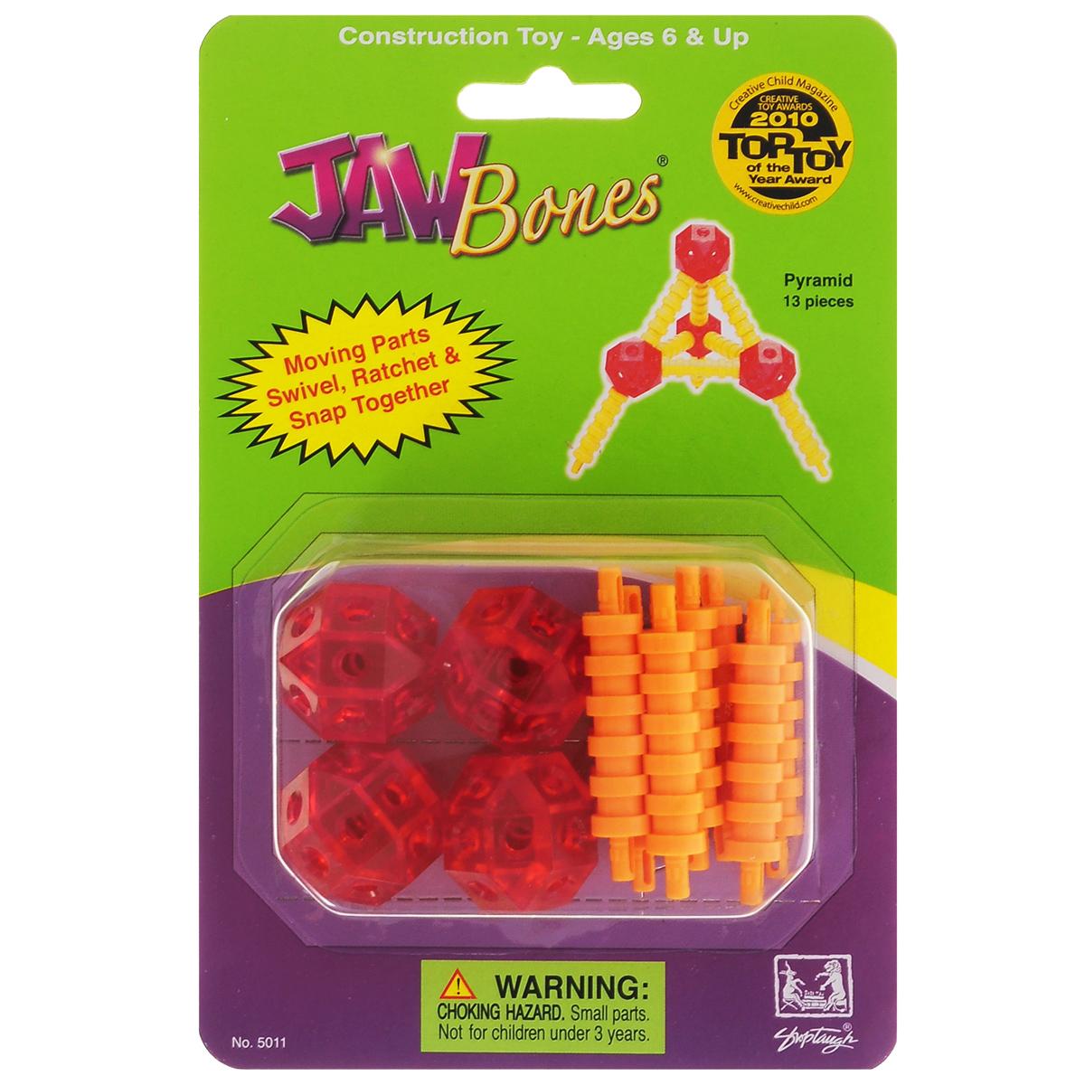 Jawbones Конструктор Пирамида5011Новый развивающий конструктор Jawbones непременно понравится вашему ребенку! При помощи красочных деталей, с уникальным креплением, можно собрать пирамиду в оригинальном и неповторимом стиле. Конструктор состоит из 13 элементов разного размера, цвета и назначения. Ваш ребенок с удовольствием будет играть с конструктором, придумывая различные истории.
