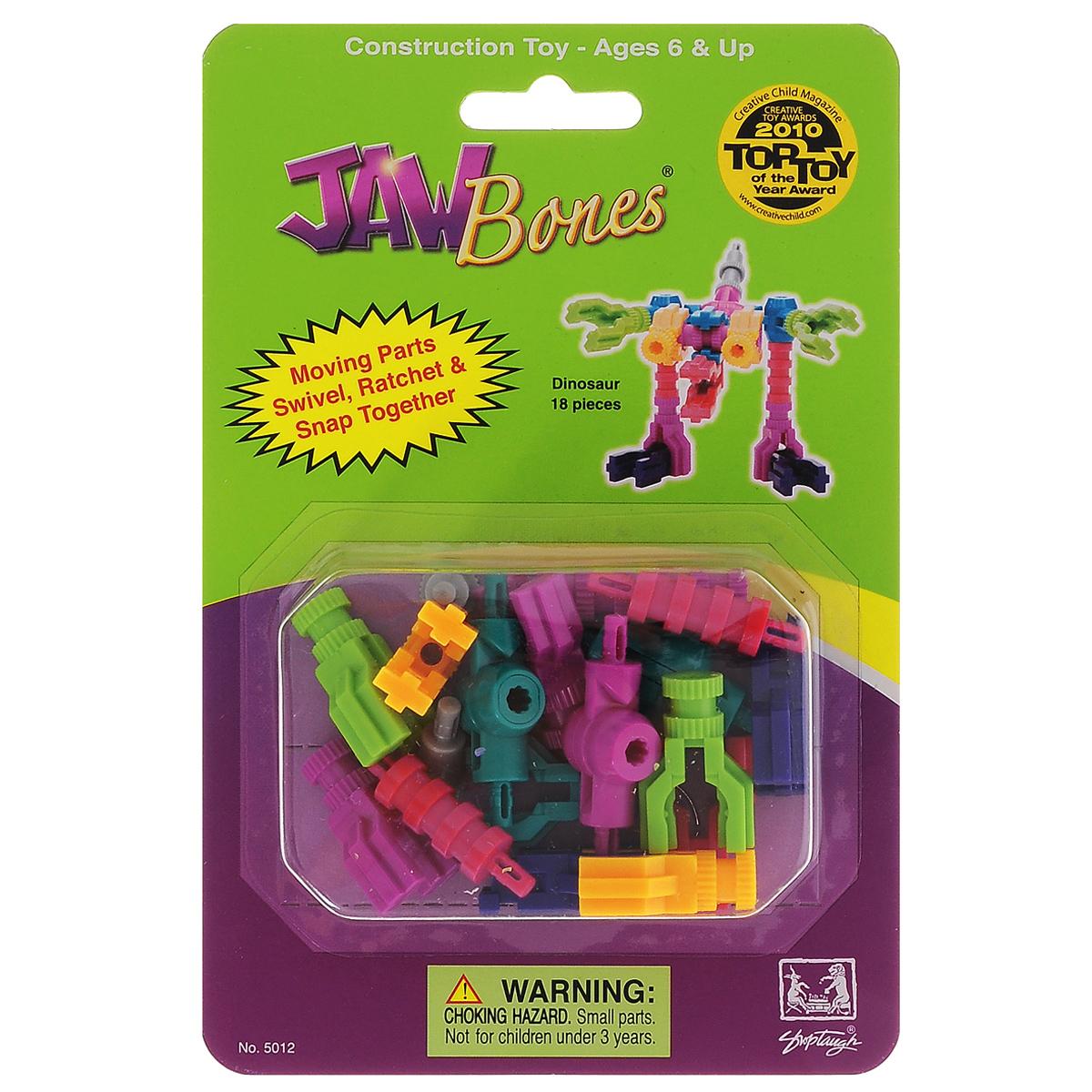 Jawbones Конструктор Динозавр5012Новый развивающий конструктор Jawbones непременно понравится вашему ребенку! При помощи красочных деталей, с уникальным креплением, можно собрать динозавра в оригинальном и неповторимом стиле. Конструктор состоит из 18 элементов разного размера, цвета и назначения. Ваш ребенок с удовольствием будет играть с конструктором, придумывая различные истории.