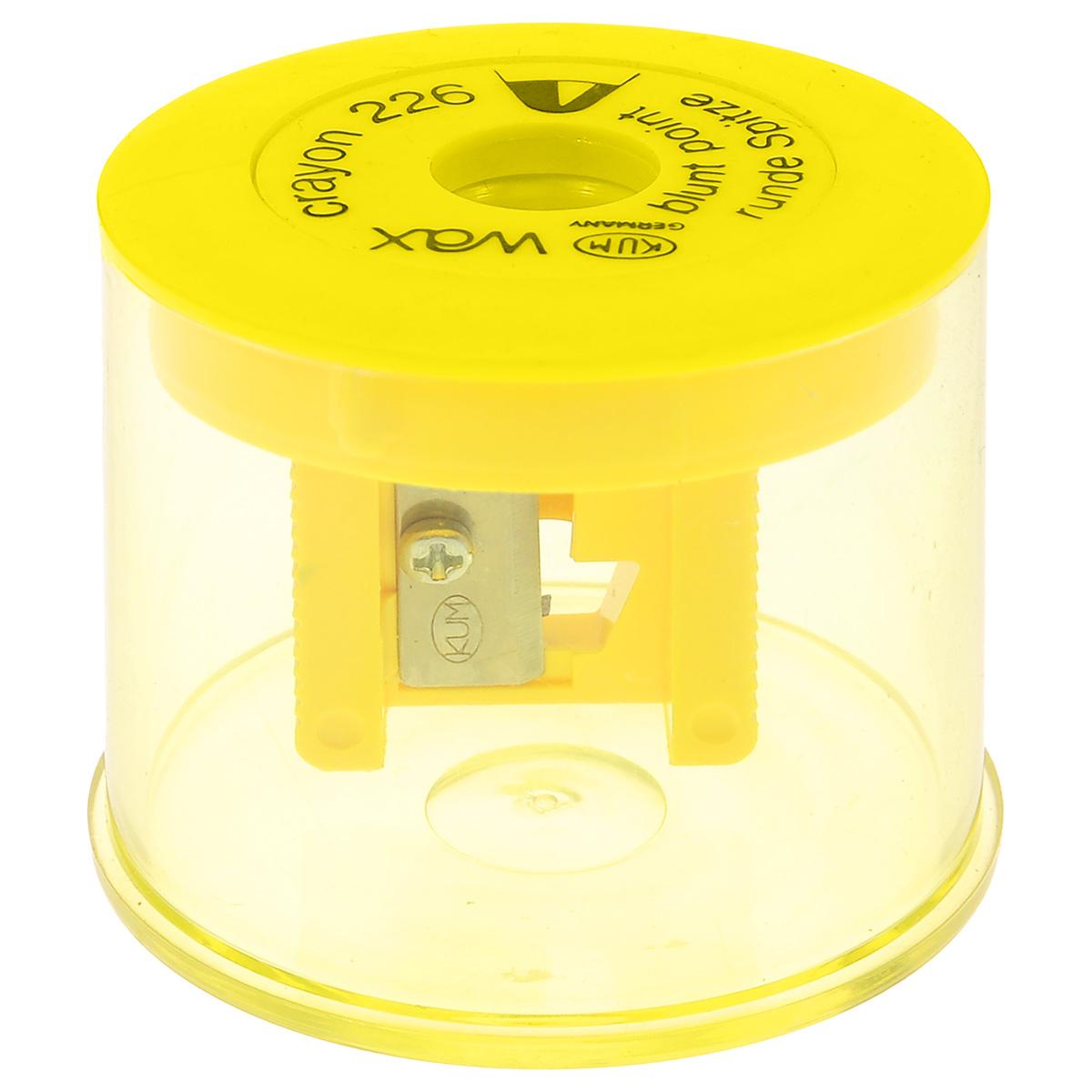 Точилка с контейнером Kum, для восковых мелков, цвет: желтыйK-226WaxTТочилка Kum предназначена для затачивания восковых мелков. Изделие выполнено в виде пластикового контейнера желтого цвета с точилкой на крышке. Точилка с одним отверстием диаметром 11 мм аккуратно затачивает мелок, не повреждая и не ломая его. Точилка Kum станет важной канцелярской принадлежностью на каждом рабочем столе.