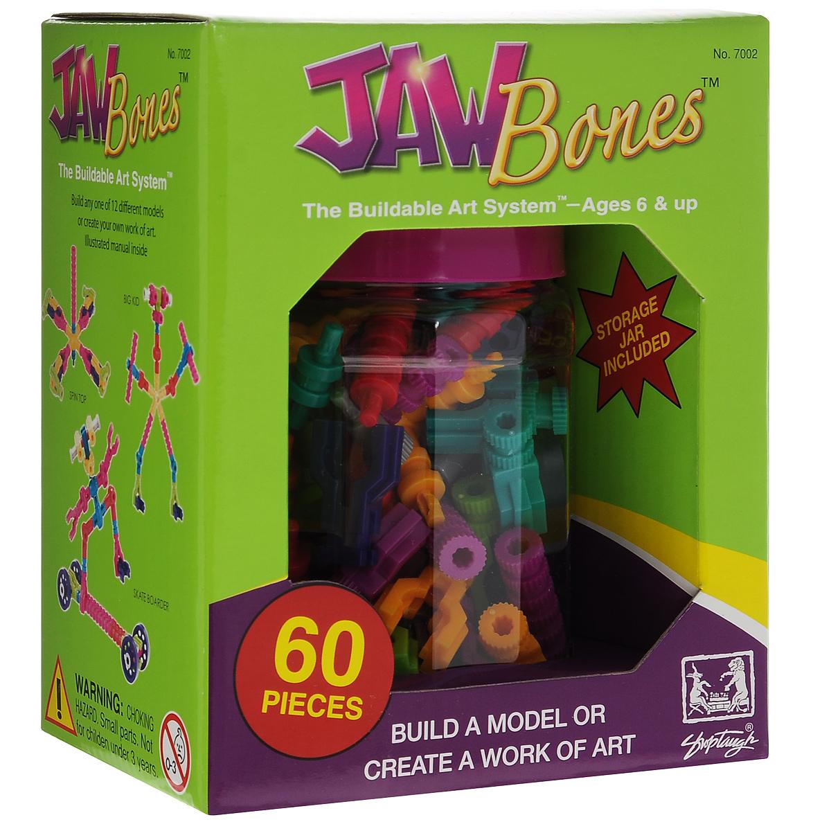 Jawbones Конструктор 70027002Новый развивающий конструктор Jawbones непременно понравится вашему ребенку! При помощи красочных деталей, с уникальным креплением, можно собрать практически любую конструкцию или предмет в оригинальном и неповторимом стиле. Конструктор состоит из 60 элементов разного размера, цвета и назначения. В комплекте удобная банка для хранения деталей, и инструкция по сборке различных моделей. Ваш ребенок с удовольствием будет играть с конструктором, придумывая различные истории.