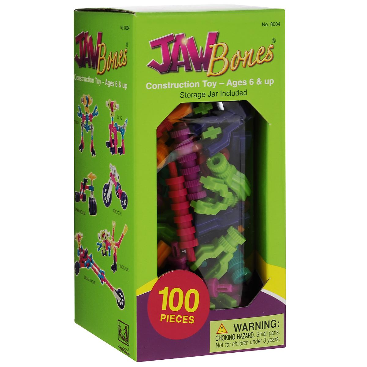 Jawbones Конструктор 80048004Новый развивающий конструктор Jawbones непременно понравится вашему ребенку! При помощи красочных деталей, с уникальным креплением, можно собрать практически любую конструкцию или предмет в оригинальном и неповторимом стиле. Конструктор состоит из 100 элементов разного размера, цвета и назначения. В комплекте удобная банка для хранения деталей, и инструкция по сборке различных моделей. Ваш ребенок с удовольствием будет играть с конструктором, придумывая различные истории.
