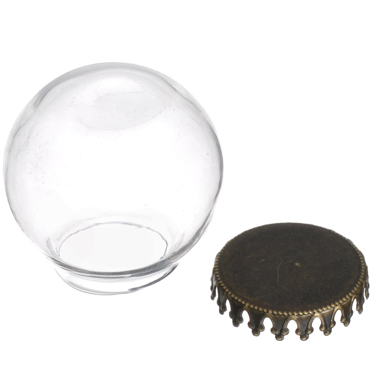 Шар-колпачок стеклянный ScrapBerrys, диаметр 20 ммSCB24001009Стеклянный шар-колпачок ScrapBerrys - это вид украшения, состоящий из ажурной металлической основы и стеклянного колпачка в форме шара. Колпачок можно использовать как оригинальный декор, как основу для бижутерии, для создания оригинальных флористических композиций, панно, кукольных миниатюр, в качестве мини шэдоу-бокса и еще множеством способом. Внутрь можно поместить цветы, бусины, стразы и многое другое. Изделия ScrapBerrys помогут воплотить вашу творческую задумку и создать оригинальные неповторимые украшения. Диаметр основы: 20 мм. Диаметр шара: 20 мм.