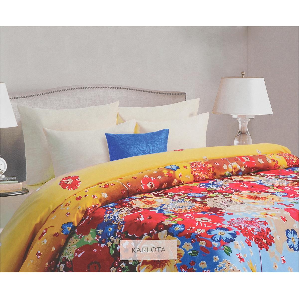 Комплект белья Mona Liza Karlota, евро, наволочки 70х70, цвет: желтый, голубой. 562109/5
