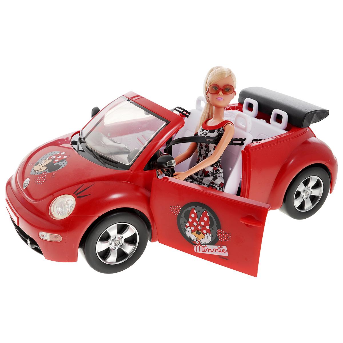 Simba Кукла Штеффи в кабриолете5745896Кукла Штеффи Minnie Mouse в красном кабриолете непременно порадует вашу малышку. Яркая машинка и качественные аксессуары в наборе сделают игру по-настоящему увлекательной. На всех предметах и одежде нарисована симпатичная героиня диснеевских мультфильмов - мышка Минни Маус. Такая реалистичная кукла с настоящей машинкой обязательно понравится каждой девочке. Размер куклы: 29 см Размер автомобиля: 40 см
