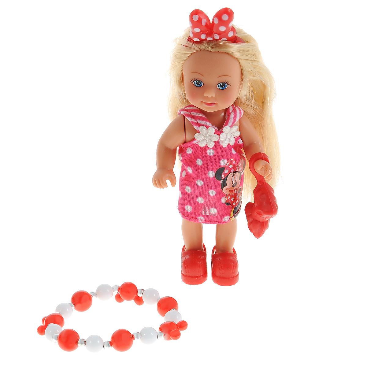Simba Мини-кукла Еви Minnie Mouse цвет розовый5747701Кукла Simba Еви: Minnie Mouse порадует любую девочку и надолго увлечет ее. В комплект входит кукла и стильный браслет для самой девочки. Наряд куклы оформлен в стиле знаменитой героини Диснея Минни Маус. Малышка Еви одета в стильное платье, украшенное принтом в горошек и дополненное изображением Минни Маус, на голове у куклы - оригинальный бант. Вашей дочурке непременно понравится заплетать длинные белокурые волосы куклы, придумывая разнообразные прически. В комплект входит сумочка-клатч для куклы, выполненная в виде банта. Руки, ноги и голова куклы подвижны, благодаря чему ей можно придавать разнообразные позы. Игры с куклой способствуют эмоциональному развитию, помогают формировать воображение и художественный вкус, а также разовьют в вашей малышке чувство ответственности и заботы. Великолепное качество исполнения делают эту куколку чудесным подарком к любому празднику.
