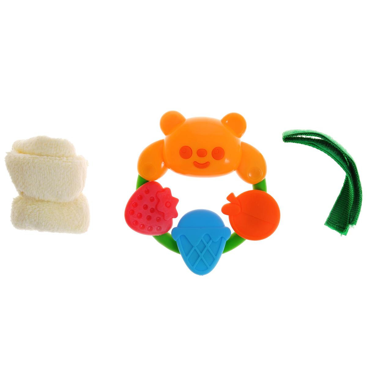Погремушка-прорезыватель Малышарики Мишка с фруктами, с салфеткойMSH0302-030С яркой, разноцветной и приятной на ощупь погремушкой-прорезывателем ребенку будет очень интересно играть, а когда начнут резаться зубки, она станет незаменимой вещью. Кроме того, игрушка развивает мелкую моторику, восприятие формы и цвета предметов, а также слух и зрение. Выполнена в ярком дизайне и из безопасных материалов. В комплексе с прорезывателем идет салфетка и лента-фиксатор на липучке. Удобная форма игрушки позволит малышу с легкостью взять и держать ее, а приятный звук погремушки порадует и заинтересует его. Игрушка поможет развить цветовосприятие, тактильные ощущения и мелкую моторику рук ребенка, а элемент погремушки поспособствует развитию слуха.