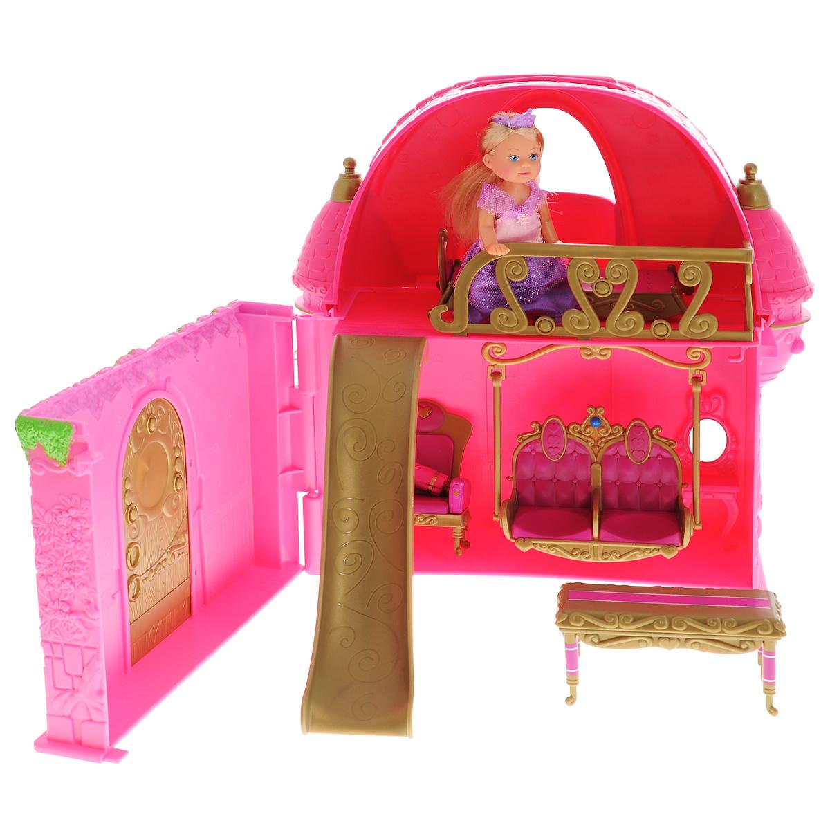 Simba Игровой набор с мини-куклами Сказочный замок для Еви5737146Игровой набор Simba Сказочный замок для Еви представляет собой настоящий волшебный дворец, выполненный в виде чемоданчика. Такой набор привлечет внимание любой девочки и позволит ей окунуться в сказочный мир волшебства. Дворец-чемоданчик легко складывается, а все элементы набора помещаются внутри, что делает его удобным для хранения и транспортировки. В набор входит кукла, фигурки собачки и кошечки, а также мебель для украшения замка и множество аксессуаров для веселого чаепития, включая яркие тортики, пирожные, чайник и чашки. Кукла Еви одета в элегантное платье принцессы, украшенное блестками. Ноги, руки и голова куклы подвижны. Все элементы набора выполнены из прочного безопасного пластика. Ваша малышка сможет часами играть с этим замечательным набором, придумывая различные истории. Такие игры развивают мелкую моторику, художественный вкус и воображение.