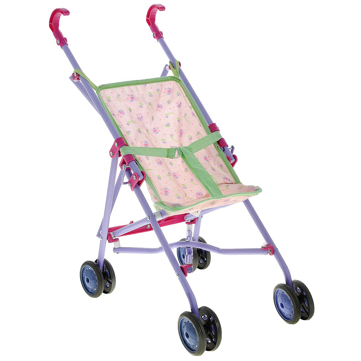 Simba Коляска для кукол New Born Baby5525052Складная коляска для кукол Simba New Born Baby очень компактна, удобна в эксплуатации и комфортабельна. Рама коляски выполнена из прочного металла, ручки и колесики выполнены из пластика. Кукла фиксируется в коляске при помощи ремня, длина которого регулируется. Текстильное сиденье коляски легко снимается, что облегчает уход за коляской. Коляска для куклы удобна в применении, как на улице, так и в помещении. Девочка непременно захочет взять эту коляску с собой на прогулку, чтобы покатать свою любимую куколку.