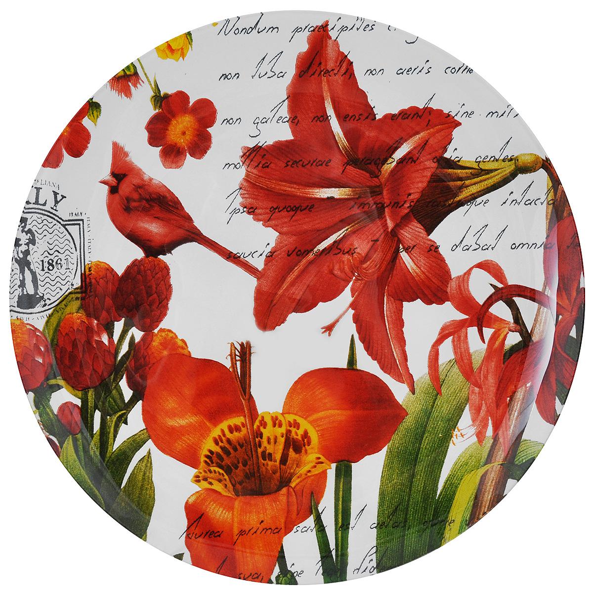 Тарелка Zibo Shelley Лилии, диаметр 25 смZSLI3010L075Круглая тарелка Zibo Shelley Лилии, изготовленная из стекла, декорирована ярким изображением цветов. Она не только украсит сервировку вашего стола и подчеркнет прекрасный вкус хозяйки, но и станет отличным подарком. Можно использовать в посудомоечной машине и СВЧ. Диаметр: 25 см. Высота: 1,5 см.