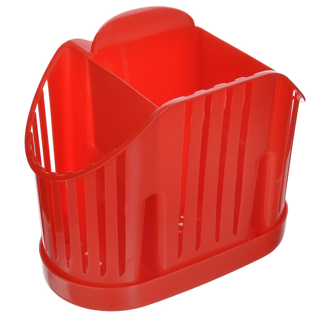 Подставка для столовых приборов Idea, цвет: красныйМ 1160Подставка для столовых приборов Idea, выполненная из высококачественного полипропилена, станет полезным приобретением для вашей кухни. Изделие оснащено 3 секциями для различных столовых приборов. Дно и стенки имеют перфорацию для легкого стока жидкости, которую собирает поддон. Такая подставка поможет аккуратно рассортировать все столовые приборы и тем самым поддерживать порядок на кухне. Размер подставки: 13,5 см х 17,5 см х 11 см. Размер поддона: 18,5 см х 10 см х 2 см.