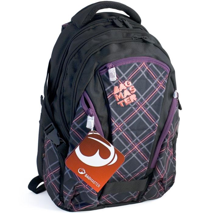 Рюкзак студенческий BagMaster BAG 10, цвет: черный, фиолетовый. BM-BAG 10 FBM-BAG 10 FШкольный рюкзак из полиэстера с двумя внутренними отделениями и большим карманом на молнии на передней части. Во внутреннее отделение помещаются альбомы, тетради, контурные карты и так далее формата А4.