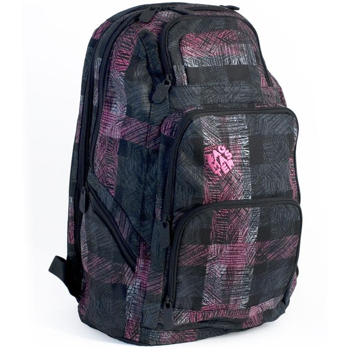 BagMaster Рюкзак школьный Peak 02 цвет черный розовыйBM-PEAK 02 CДетский рюкзак BagMaster Peak 02 сочетает в себе современный дизайн, функциональность и долговечность. Выполнен из прочных и высококачественных материалов. Рюкзак содержит два вместительных отделения, закрывающихся на застежки-молнии. В первом отделении карманов нет. Второе отделение рассчитано для ноутбука диагональю 15,4 дюйма. Также в нем находится пришивной карман на молнии. Рюкзак имеет два вместительных боковых кармана на молниях. На лицевой стороне рюкзака располагаются три накладных кармана на молниях. В одном из этих карманов находятся четыре открытых кармашка и карман-сетка на молнии. Мягкие широкие лямки анатомической формы повторяют естественный изгиб плечевого пояса, обеспечивая комфортную посадку рюкзака и свободу движений. Лямки имеют регулируемую длину. Грудное крепление предусмотрено для фиксации лямок на плечах ребенка. Этот рюкзак разработан специально для людей стильных и модных, любящих быть в центре внимания.