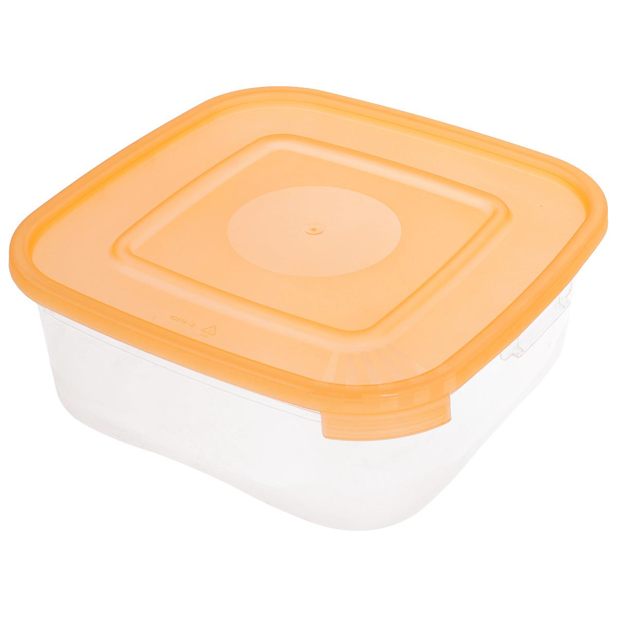 Контейнер Полимербыт Каскад, цвет: прозрачный, оранжевый, 1,4 лС680_оранжевыйКонтейнер Полимербыт Каскад квадратной формы, изготовленный из прочного пластика, предназначен специально для хранения пищевых продуктов. Крышка легко открывается и плотно закрывается. Контейнер устойчив к воздействию масел и жиров, легко моется. Прозрачные стенки позволяют видеть содержимое. Контейнер имеет возможность хранения продуктов глубокой заморозки, обладает высокой прочностью. Подходит для использования в микроволновых печах. Можно мыть в посудомоечной машине.