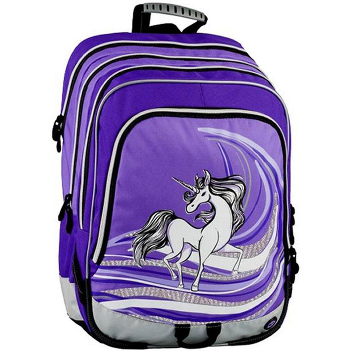 Рюкзак школьный BagMaster S1A 0114B, цвет: фиолетовый. BM-S1A 0114 BBM-S1A 0114 BШкольный рюкзак из полиэстера с двумя внутренними отделениями и большим карманом на молнии на передней части. Во внутреннее отделение помещаются альбомы, тетради, контурные карты и так далее формата А4.