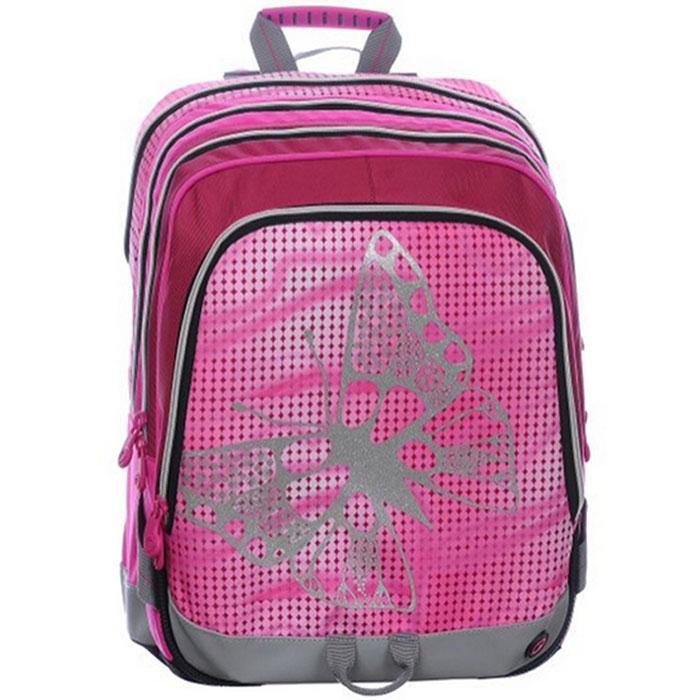 Рюкзак школьный BagMaster S1A 0115A, цвет: розовый. BM-S1A 0115 ABM-S1A 0115 AШкольный рюкзак из полиэстера с двумя внутренними отделениями и большим карманом на молнии на передней части. Во внутреннее отделение помещаются альбомы, тетради, контурные карты и так далее формата А4.