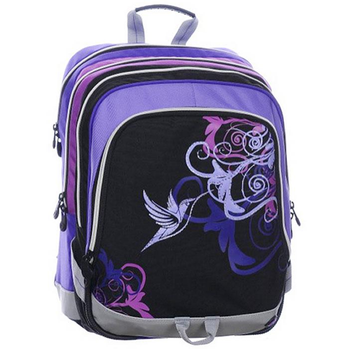 Рюкзак школьный BagMaster S1A 0115B, цвет: фиолетовый. BM-S1A 0115 BBM-S1A 0115 BШкольный рюкзак из полиэстера с двумя внутренними отделениями и большим карманом на молнии на передней части. Во внутреннее отделение помещаются альбомы, тетради, контурные карты и так далее формата А4.