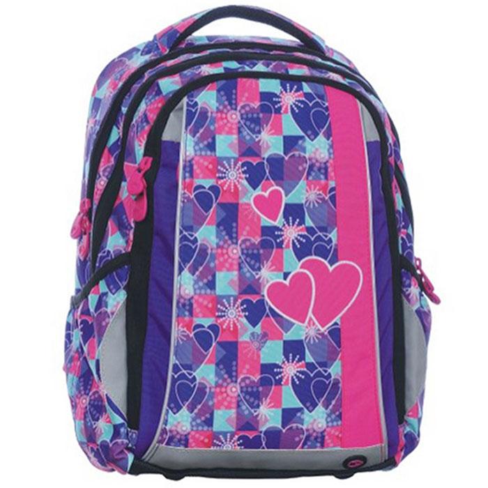 Рюкзак школьный BagMaster SCHOOL 0115 A, цвет: фиолетовый. BM-SCHOOL 0115 ABM-SCHOOL 0115 AШкольный рюкзак из полиэстера с двумя внутренними отделениями и большим карманом на молнии на передней части. Во внутреннее отделение помещаются альбомы, тетради, контурные карты и так далее формата А4.