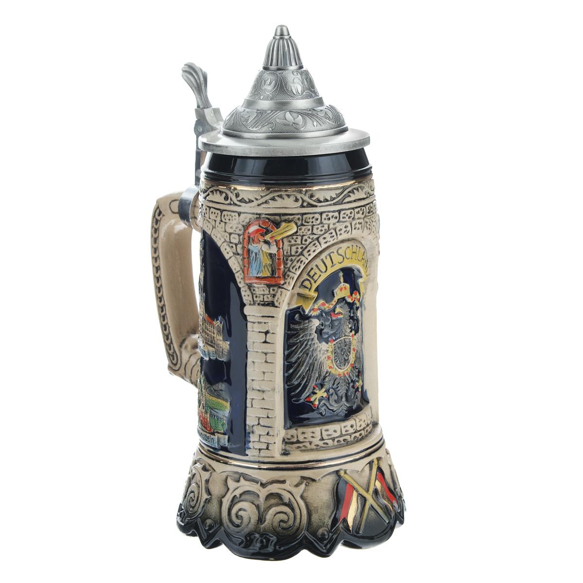 Пивная кружка коллекционная Германия, с крышкой, 1 л. 114424114424
