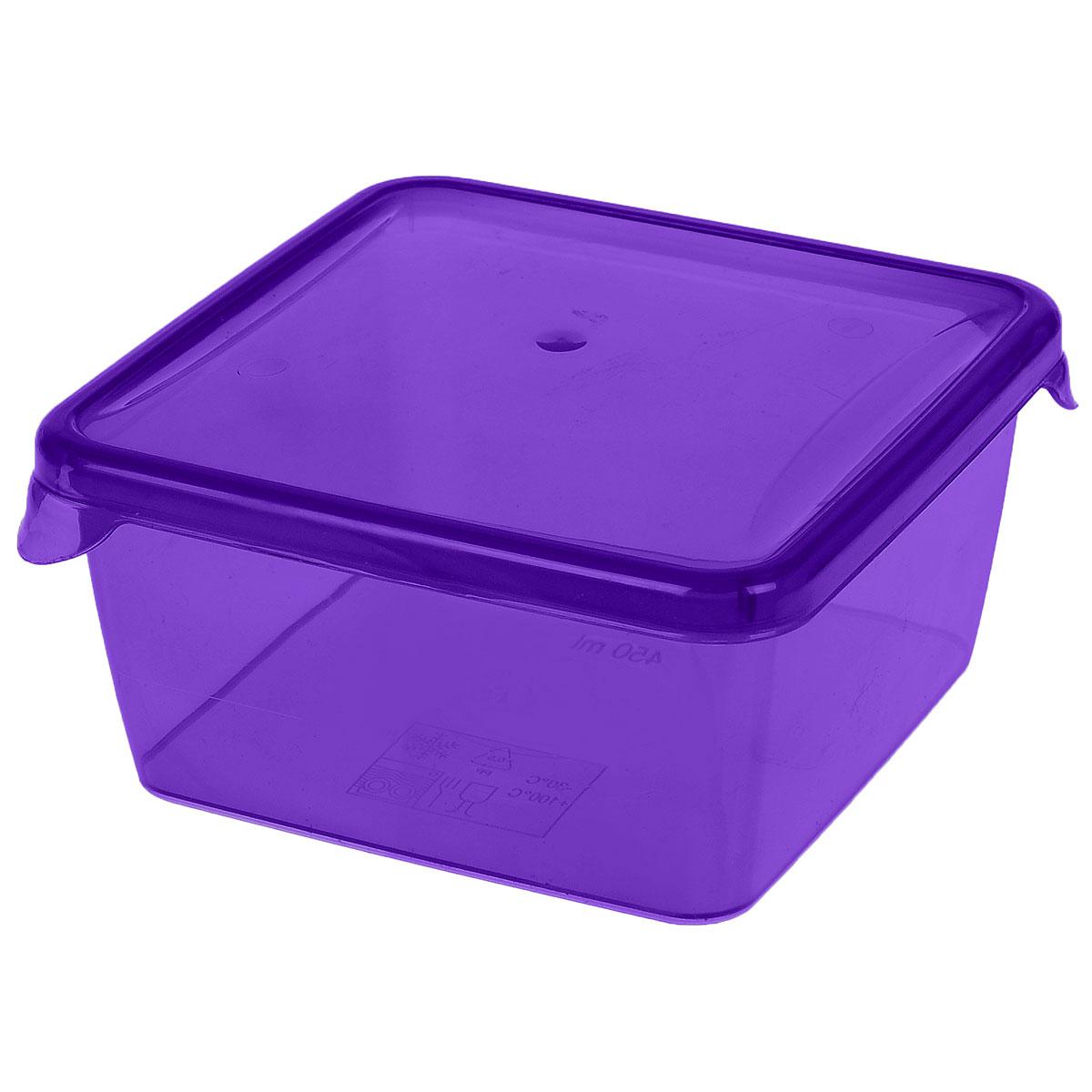 Контейнер P&C Браво, цвет: фиолетовый, 450 млПЦ1030_фиолетовыйКонтейнер P&C Браво выполнен из высококачественного пищевого прозрачного пластика и предназначен для хранения и транспортировки пищи. Крышка легко открывается и плотно закрывается с помощью легкого щелчка. Подходит для использования в микроволновой печи без крышки (до +100°С), для заморозки при минимальной температуре -30°С. Можно мыть в посудомоечной машине.
